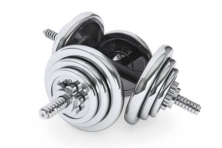 physical pressure: Fitness exercise equipment dumbbells weight on a white background