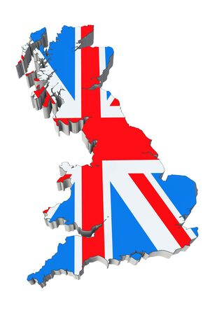 Map of England in England flag colors on a white background photo