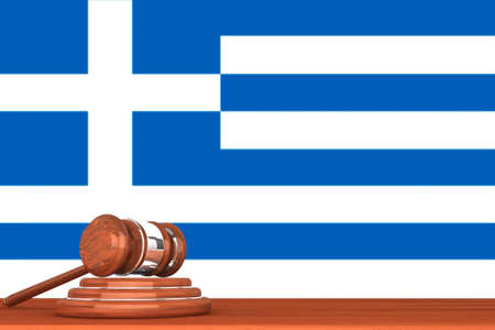 Wooden Justice Gavel with Flag Of Greece Stock Photo - 17871999