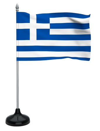 Flag of Greece hanging on the flagpole on a white background photo