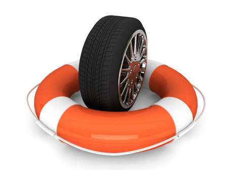 car insurance: Car assistance concept. Lifebuoy with wheel tyre on a white background Stock Photo