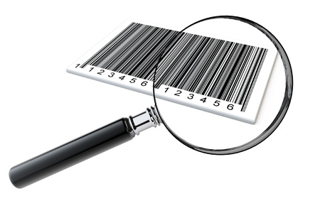 Magnifying glass searching bar codes on a white background photo