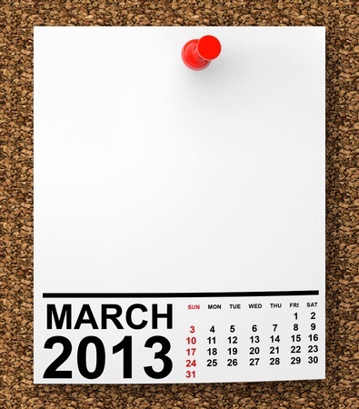 Calendar March 2013 on blank note paper with free space for your text photo