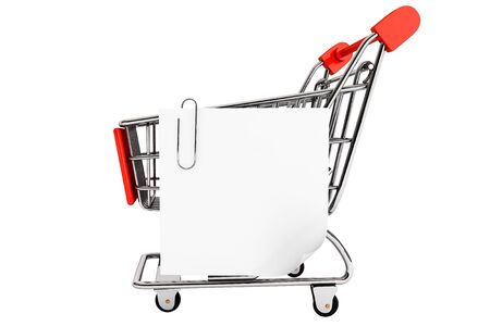 Shopping concept. Shopping cart and blank paper note list on a white background Stock Photo - 17871993
