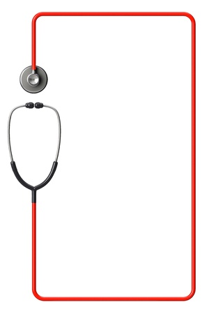 medical device: Doctors stethoscope in red as frame on a white background with space for text