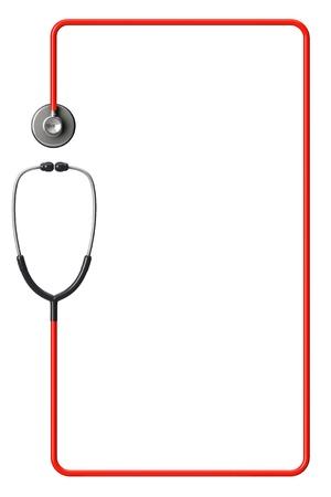 Läkarens stetoskop i rött som ram på en vit bakgrund med plats för text