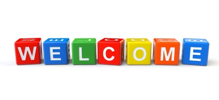 welcome business: Colorful cubes with welcome sign on a white background Stock Photo