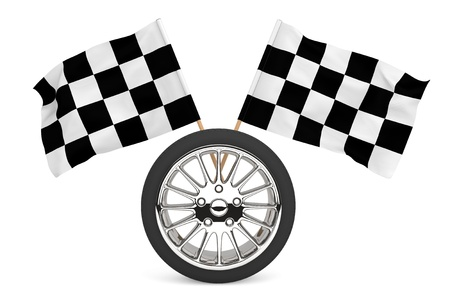 Racing Concept. Wheel with racing flags on a white background photo
