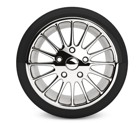 Wheel with steel rim on a white background Stock Photo - 17872004