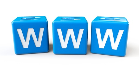 surfing the net: Blue cubes with www letters on a white background Stock Photo