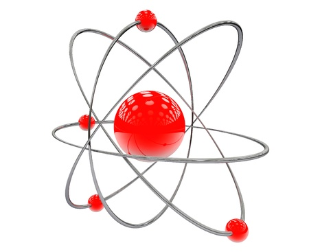 Orbital model of atom on a white background photo