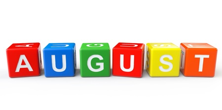 Cubes with August sign on a white background photo