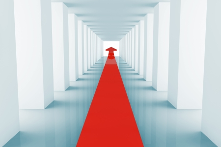 financial obstacle: Business concept. Red Arrow in corridor shown correct direction Stock Photo