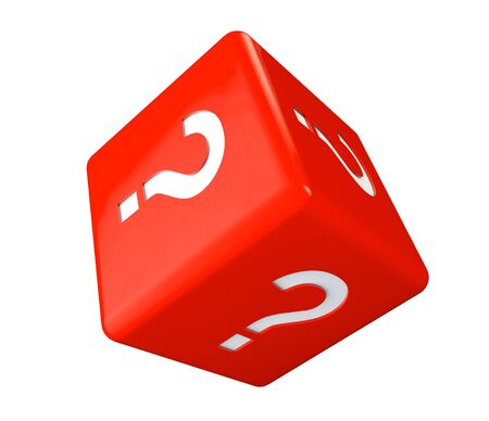Red cube with question marks on a white background Stock Photo - 17872035