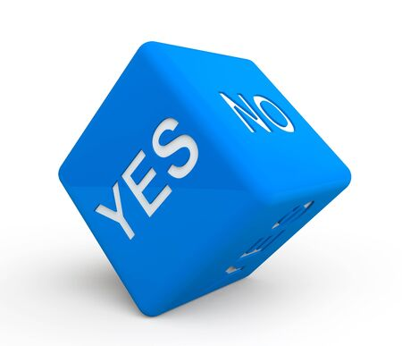 yes no: Blue dice with Yes and No sign on a white background