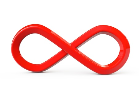 Red infinity symbol on a white background photo