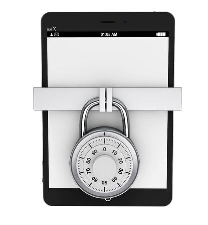 pda: Mobile Security concept. Tablet PC with Lock on a white background