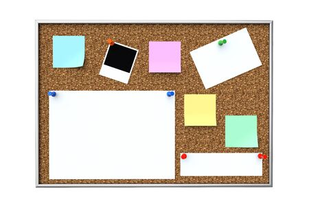Cork message board with various paper notes and memo stickers on a white background
