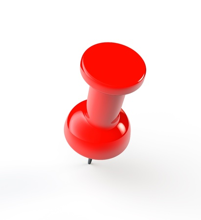 push pins: Red paper push Pin on a white background