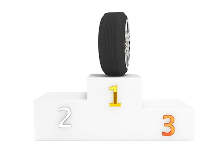 Champion Wheel Concept. Wheel over pedestal first place on a white background photo