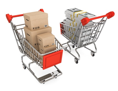 consumerism: Consumerism concept. Shopping carts with boxes and money on a white background