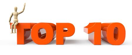 surpass: Top 10 sign with dummy on a white background Stock Photo