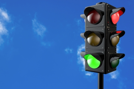 3d render traffic lights with bluesky background photo