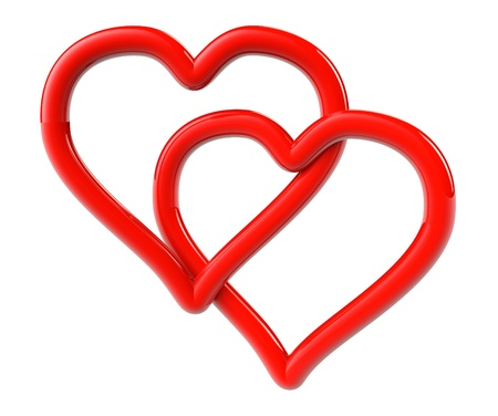 entwined: Love Concept. Two red hearts as ring on a white background