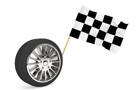 Racing Concept. Wheel with racing flag on a white background Stock Photo - 17872116
