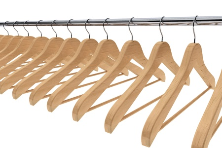clothing rack: Wooden coat hangers on a white background