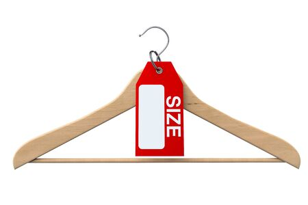 clotheshanger: Coat Hanger with Size Tag on a white background