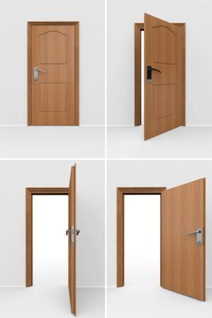 closed business: Wooden door set in many position on a gray background