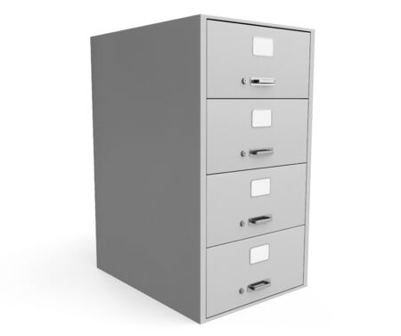 Traditional File Cabinet on a white background photo