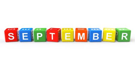 Cubes with September sign on a white background photo