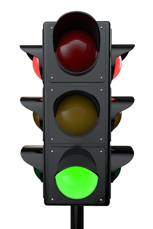 3d render traffic lights on a white background Stock Photo - 18069945