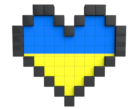 Pixel Heart as Ukraine Flag on a white background photo