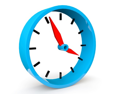 Icon of blue abstract clock on a white background photo