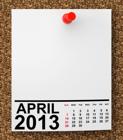 Calendar April 2013 on blank note paper with free space for your text photo