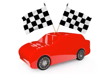 Abstract Red Car with Racing Flags on a white background Stock Photo - 18370953