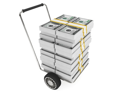 Cart with stack of money on a white background photo