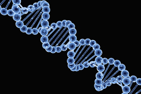 DNA structure in blue on a black background photo