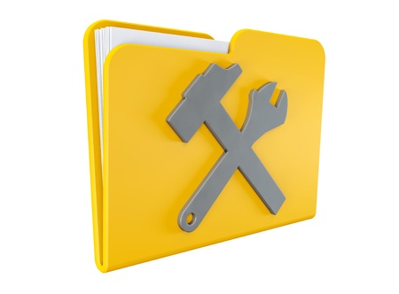 dir: Service concept icon. Yellow folder with wrench and hammer on a white background  Stock Photo