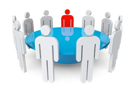 stockholder: Business meeting concept  Persons with leader around table on a white background