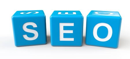 Blue Cubes with SEO sign on a white background Stock Photo - 18370958