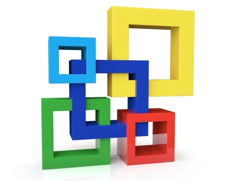 白い背景の上の 5 つのフレームを持つユニットの概念