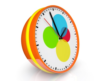 Abstract color clock on a white background Stock Photo - 18511131