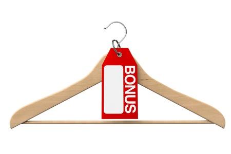 clotheshanger: Coat Hanger with Bonus Tag on a white background Stock Photo