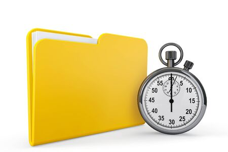 Yellow folder with stopwatch on a white background photo
