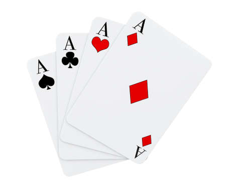 4 of a kind: Four aces playing cards suits on a white background