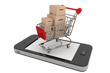 ecommerce: Smartphone purchase concept  Smartphone and a shopping cart with boxes on a white background